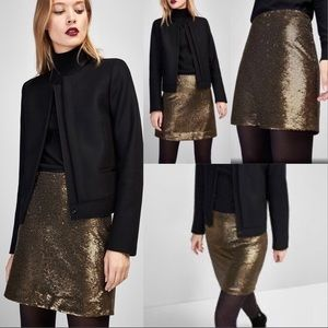 Massimo Dutti Gold Sequin Lined Skirt NWT Sz XS
